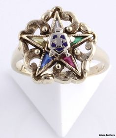 ORDER of the EASTERN STAR - 10k Yellow Gold Synthetic Gems Vintage Masonic Ring | eBay