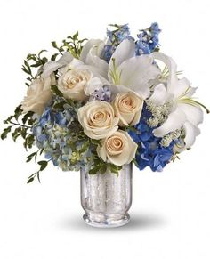 Happy Hanukkah Bouquet- Beautiful blue hydrangea, delphinium, crème roses and more are perfectly arranged in a divine Mercury Glass Vase.