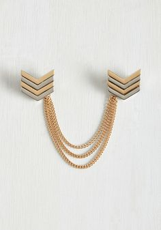 Pointed in the Right Reflection Collar Pin. Adorning your collar with this two-piece chevron pin will have you marveling at your appearance with every glance encounter. #gold #modcloth
