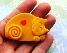Polymer Clay gatto colorato pin spilla o magnete di Coloraudia