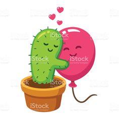 Abraço de cacto e balão abraço de cacto e balão - arte vetorial de acervo e mais imagens de dia dos namorados royalty-free
