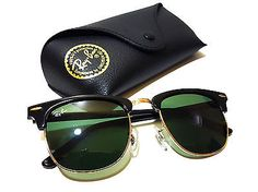 Ray Ban RB3016 W0365 Clubmaster Black Frame Green G15 Lens Sunglasses 51mm NEW