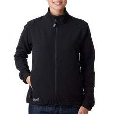 9410 Dri-Duck Ladies' Precision Soft-Shell #Jacket  90% polyester/10% spandex • wind-and water-resistant • four-way stretch soft-shell • elastic back cuffs • zippered hand pockets • performance fit. at wholesale price.