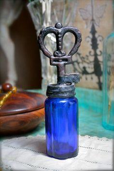 Vintage Skeleton Key Topped Cobalt Glass Bottle by tresorbleu, $45.00