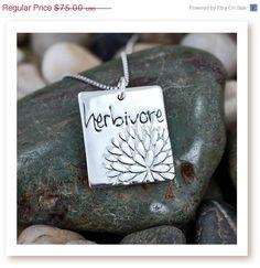 HERBIVORE Rectangular Word Pendant with by ZOEandPIPER, $60.00