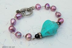 ❥ Turquoise and pink freshwater pearls