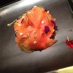 "Marinated salmon on a potato crostini, confit fennel and ""crème fraiche"" by Xavier Boyer at London L'Atelier"