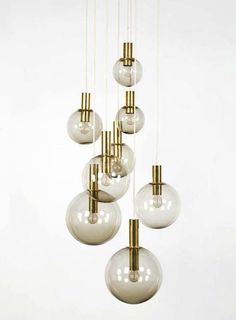 Brass & Smoked Glass Ceiling Lights by Hans Agne Jakobsson