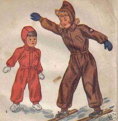 1944 Vintage Pattern Snow Suit Cap Hood Ski Size 3
