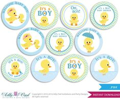 Boy Duck Cupcake Toppers for Baby Shower Printable DIY, favor tags, circles, It's a Boy, Chevron - ONLY digital file - Distintivos Baby Shower, Baby Shower Cupcakes For Boy, Baby Shower Cupcake Toppers, Boy Baby Shower Themes, Diy Shower, Baby Shower Printables, Baby Shower Gifts, Shower Ideas, Imprimibles Baby Shower