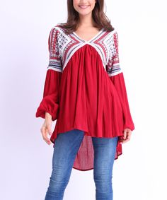 Look what I found on #zulily! Red Geometric Bishop-Sleeve Tunic by Rozy's Rascals #zulilyfinds