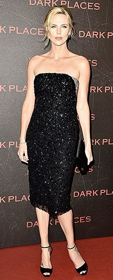 The actress premiered her new film in a bedazzled Christian Dior Couture dress with a lacey back, coupled with black Dior accessories.