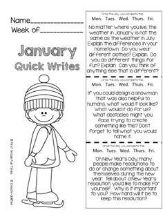 FREE Quick Writes for upper elementary!!