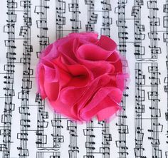Hot Pink Satin and Organza Fabric Flower Clip by TheLavenderLounge, $6.00