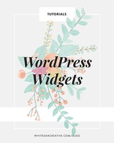 Managing and organizing your widgets in wordpress guide - blog tutorial, wordpress tips http://whiteoakcreative.com/blog/wordpress-widgets-widget-areas/