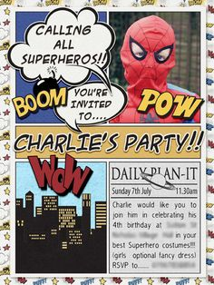 Superhero birthday party invitation from Carolynn at DesignerDigitals.com