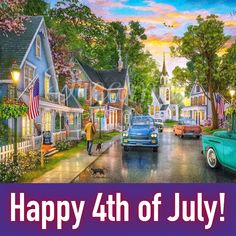 """Happy Independence Day to our wonderful USA community!! We hope you are celebrating the Fourth of July happy and healthy 💜 Please join us tonight on Facebook Livestream for a night of BINGO and another Artist Spotlight - Can you guess who??? That's right, this painting is by Dominic Davison entitled """"Small Town USA"""" 🙌🏻 🇺🇸 Happy 4 Of July, Fourth Of July, Happy Independence Day, Bingo, Small Towns, Spotlight, Join, Community, Facebook"""
