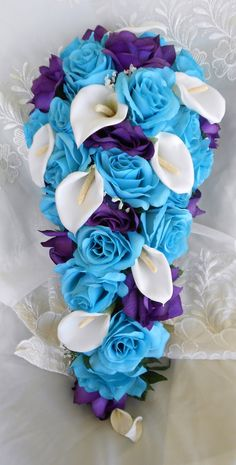 Details About Round Purple Turquoise Malibu Rose Lily Bridal Bouquet Package Wedding Flowers And