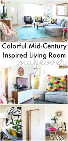 Colorful Mid Century Glam Living Room Makeover - Classy Clutter