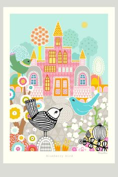 Beautiful poster -'Blueberry Bird' by Charlotta Sandburg. Coordinating bedding and wallpaper also available. Eco Store, Childrens Wall Art, Beautiful Posters, Beautiful Images, Konmari, Wooden Hand, Baby Boutique, Interior S, Accessories