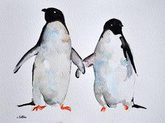 ORIGINAL Watercolor Bird Painting Penguins by ArtCornerShop