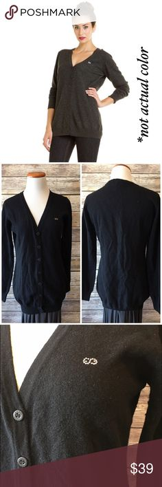 """Escada Sport Black Wool Cardigan Escada Sport black wool cardigan. A wardrobe classic. Never goes out of style. Made of 100% virgin wool. Measures from pit to pit 19.5""""/ length 28"""". Has signs on pilling under the pit areas. Escada Sweaters Cardigans"""