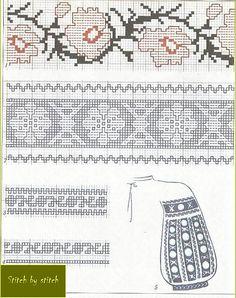 Folk Embroidery, Learn Embroidery, Cross Stitch Embroidery, Embroidery Patterns, Knitting Patterns, Cross Stitch Borders, Cross Stitch Charts, Cross Stitch Patterns, Garter Stitch