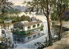 Houseboat, California art by John Bohnenberger. HD giclee art prints for sale at CaliforniaWatercolor.com - original California paintings, & premium giclee prints for sale