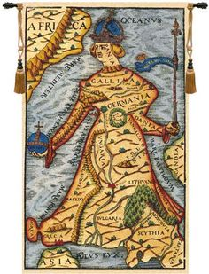 Ptolemaeus Map Tapestry Wall Art Hanging