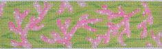 "Lilly-inspired cuff, belt, dog collar or ""Eliza B"" flip-flops - Sea Coral in Pinks & Lime (comes with seed pearls for white dots)  1 1/2 x 7, 18 mesh"