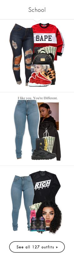 """""""School"""" by heavensincere ❤ liked on Polyvore featuring A BATHING APE, MICHAEL Michael Kors, NIKE, H&M, Joyrich, MCM, Moschino, Retrò, Sacai Luck and New Balance"""