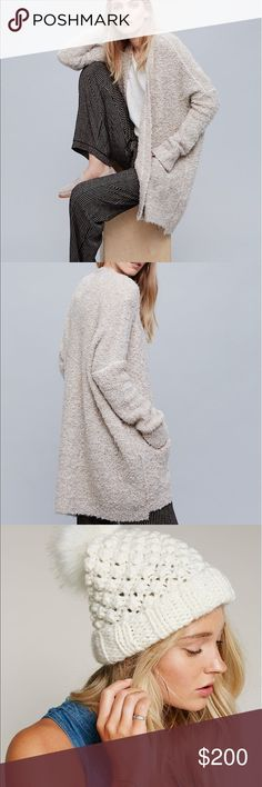 Bouncy sweater jacket with matching hat scarf set Free People sweater and beanie and thick large scarf (ivory and grey) scarf does not have Fringe on it at all Free People Jackets & Coats
