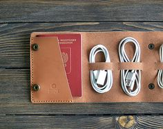 Personalized Leather Cord holder. iPhone cable organizer.