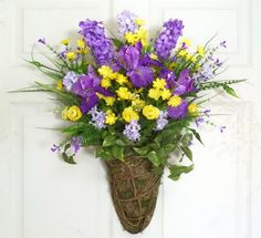 Iris and Hyacinth Door Basket Spring Wreath Front by Floralwoods, $50.00