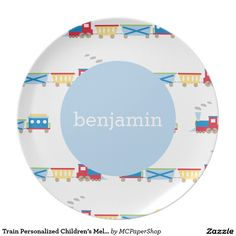 Train Personalized Children's Melamine Plate - by Meredith Collie