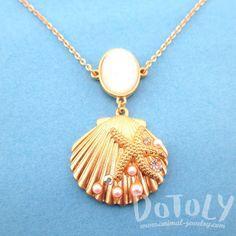 Seashell Starfish Sea Inspired Mermaid Necklace in Gold
