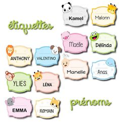 La maternelle de Laurène: étiquettes prénoms animaux mignons