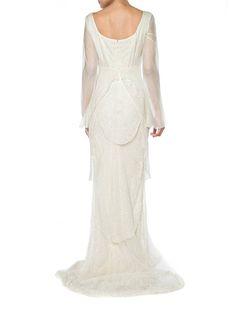 5279df445e3e9b 1990s Alberta Ferretti Trained Silk Gown Beaded With Crystals Size  0-2