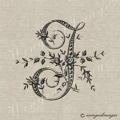 Antique French Monogram Letter J Instant Download Digital Image No.226 Iron-On Transfer to Fabric (burlap, linen) Paper Prints (cards, tags)