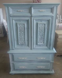 """This piece has tons of storage space packed into one cute little package. I painted it a light blue wash with a white wax. What do you think?  The dimensions are 40"""" L, 19"""" W, 62"""" H. SOLD!! for $325 https://www.pinterest.com/shabbychictexas/my-shabby-chic-armoires/"""