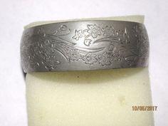 1960 Vintage Kirk Stieff Engraved Narcissus Flower Bangle Bracelet Cuff Signed  #KirkStieff #Cuff