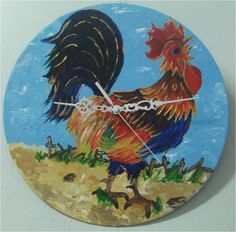 Chinese Zodiac Rooster, Chinese Zodiac Signs, Recycled Cds, Old Vinyl Records, Rooster Painting, Zodiac Signs Virgo, Record Art, Oak Color, Roosters