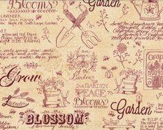 Patchworkstoff PATCHWORK GARDEN, Gartenmotive und Schrift, elfenbeinfarben-weinrot