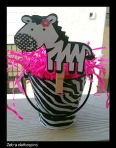 Zebra Print Baby shower, Zebra clothespins for Sssshhh Don't say baby game.