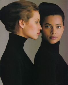 Christy Turlington and Louise Vyent by Gilles Bensimon, 1987