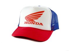 154e6a2b02e Honda Trucker Hat Mesh Hat Snapback Hat Red White Blue Adjustable Snapback  Hats