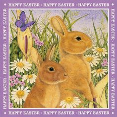 Happy Easter Bunnies Art of Anne Mortimer