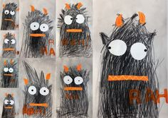 Would be a cute kinder project Kindergarten Art Lessons, Art Lessons For Kids, Art Lessons Elementary, Art For Kids, Crafts For Kids, Bricolage Halloween, Halloween Crafts, Fall Art Projects, Ecole Art
