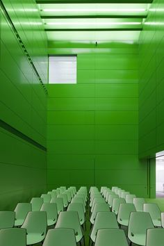 Green room with green chairs