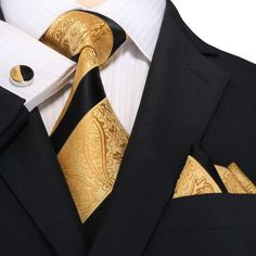 Black and Gold Stripe Paisley Silk Tie Set Sharp Dressed Man, Well Dressed Men, Mens Fashion Suits, Mens Suits, All Black Tuxedo, Style Gentleman, Gentlemans Club, Tie Set, Suit And Tie